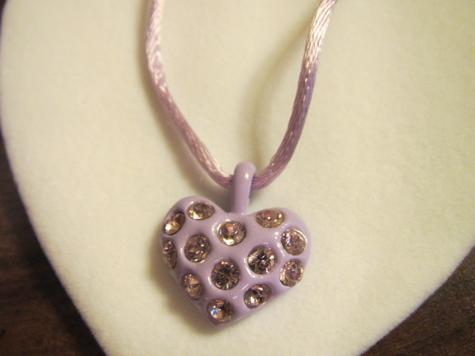 "HEART Pendant LILAC NECKLACE Keepsake Message 9"" length cord Fashion Jewellery (GIF-55)"
