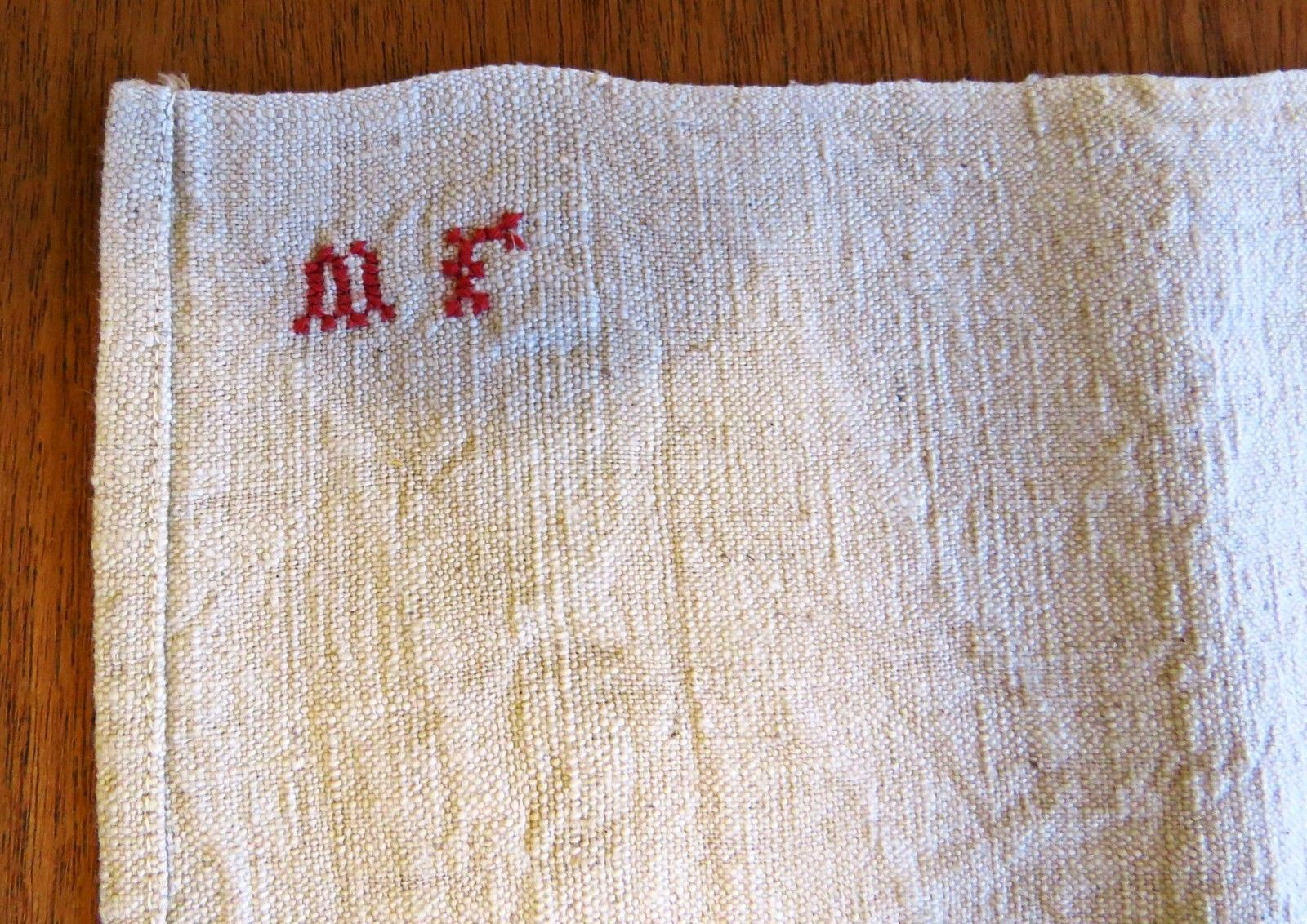 Antique Towel French Primitives Torchon Kitchen Tea Cloth Linen Red Monogram M F (L&T-388)