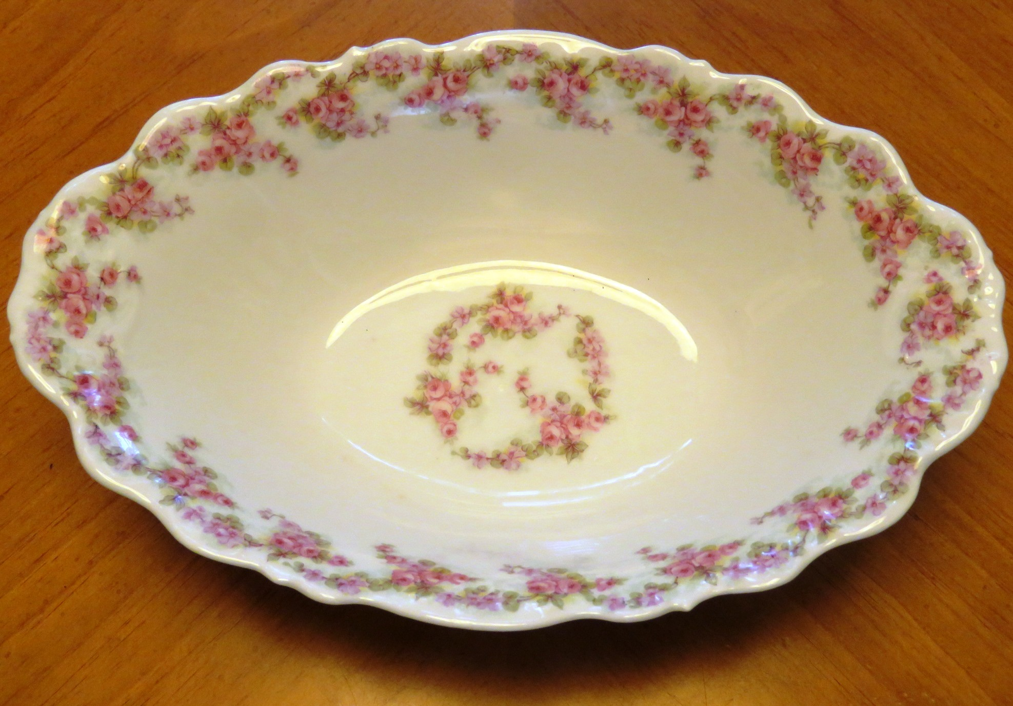 Antique Limoges Bridal Wreath Oval Dish Vegetable Serving Bowl Elite Works Roses (POT-194) in Pottery & Glass